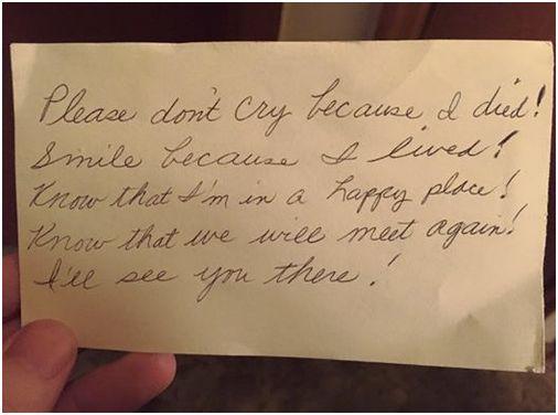 亡き妻ビリーさんから、夫ジミーさんへの手紙