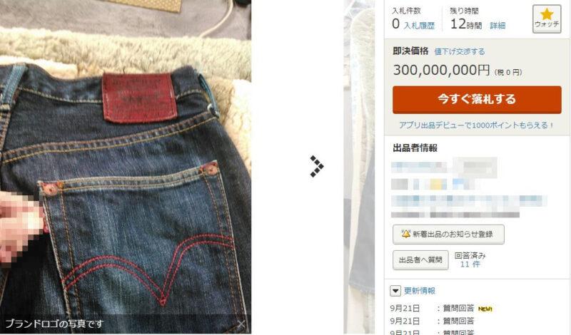 ヤフオクに3億円のジーンズが出品